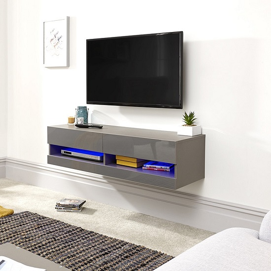 Abril Wall Mounted Small TV Wall Unit In Grey Gloss With LED