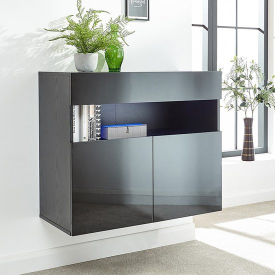 Product photograph showing Abril Led Wall Mounted Wooden Sideboard In Black High Gloss