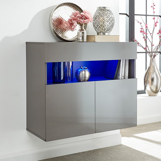 Abril LED Wall Mounted Wooden Sideboard In Grey High Gloss