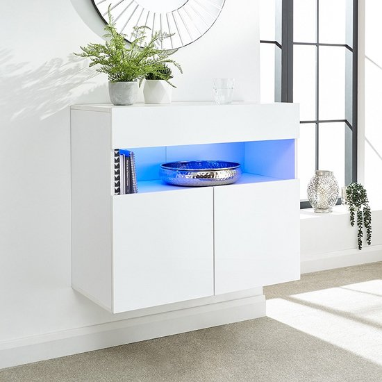 Abril LED Wall Mounted Wooden Sideboard In White High Gloss