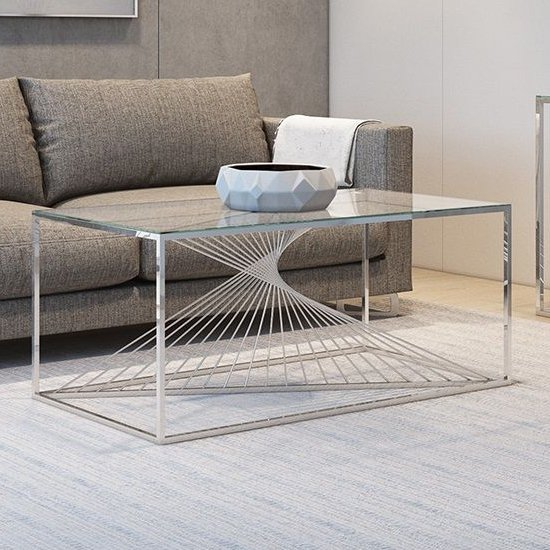 Abrstact Glass Coffee Table With Polished Stainless Steel Frame