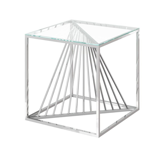 Abrstact Glass Side Table With Polished Stainless Steel Frame_2