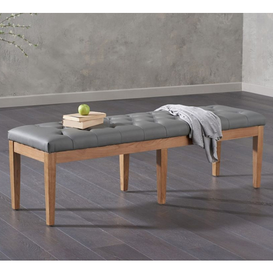 Absoluta Faux Leather Dining Bench In Grey