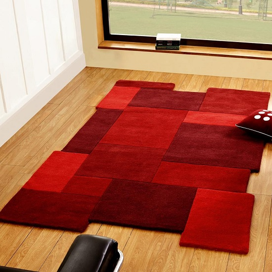 Abstract Collage Red Rug