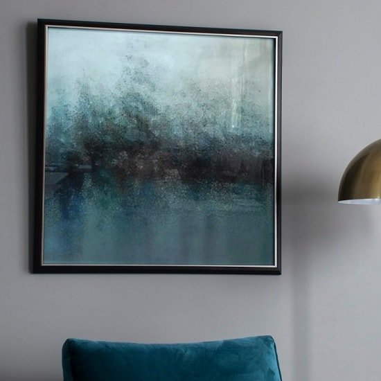 Stylish Abstract Framed Wall Art in Blue Hues