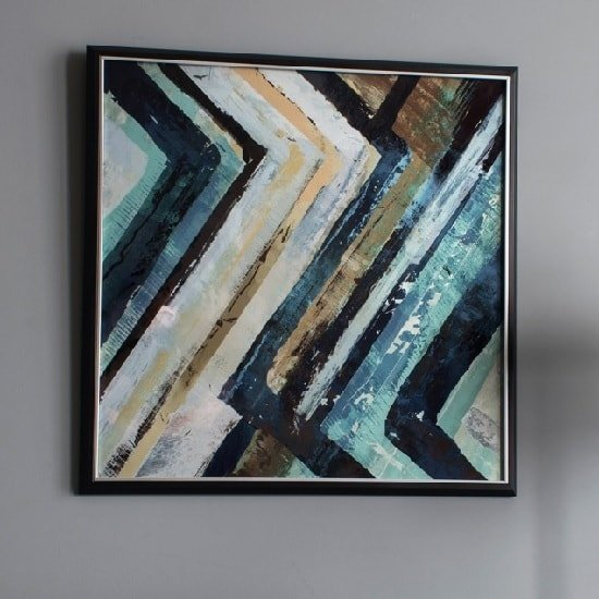 View Abstract framed wall art in blue and black