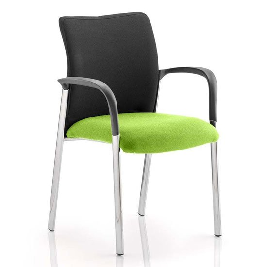 View Academy black back visitor chair in myrrh green with arms