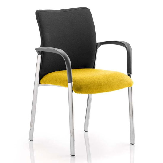 Academy Black Back Visitor Chair In Senna Yellow With Arms