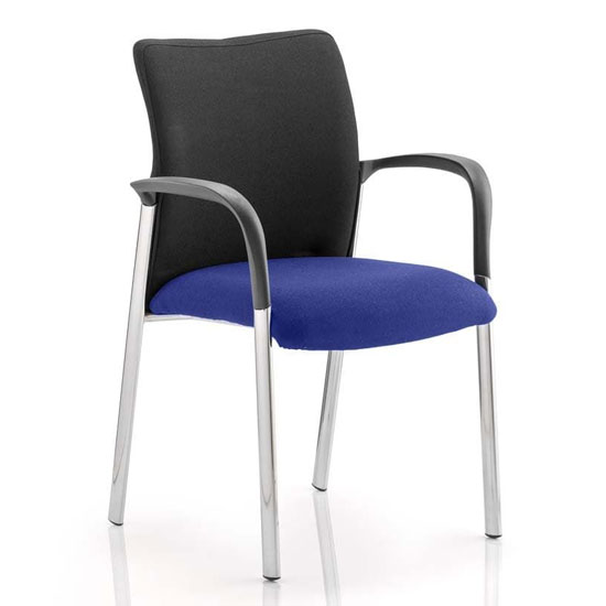 Academy Black Back Visitor Chair In Stevia Blue With Arms