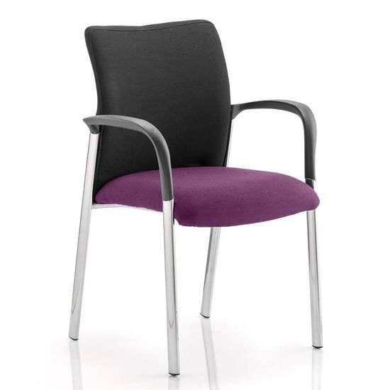 Academy Black Back Visitor Chair In Tansy Purple With Arms