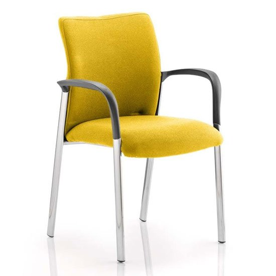 Product photograph showing Academy Fabric Back Visitor Chair In Senna Yellow With Arms