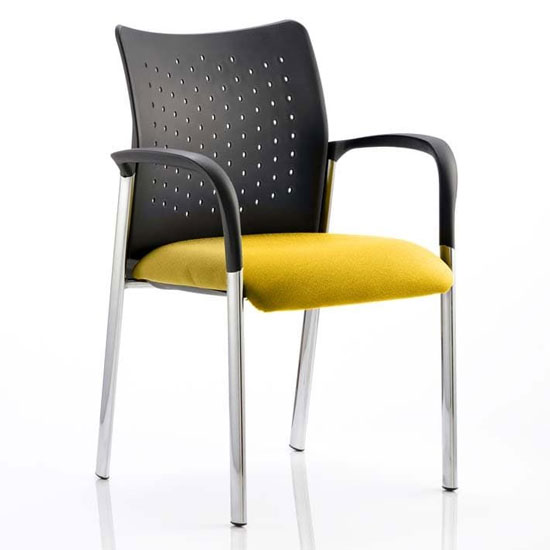 Academy Office Visitor Chair In Senna Yellow With Arms