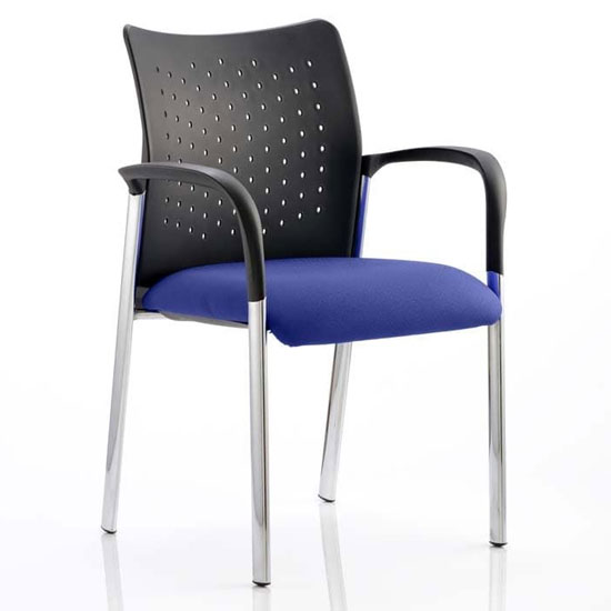Academy Office Visitor Chair In Stevia Blue With Arms