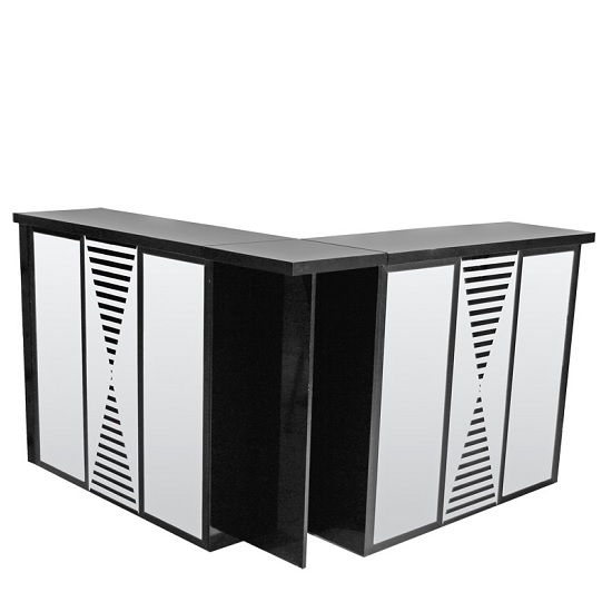 Acadia Mirrored Folding Bar Unit In Black High Gloss_1