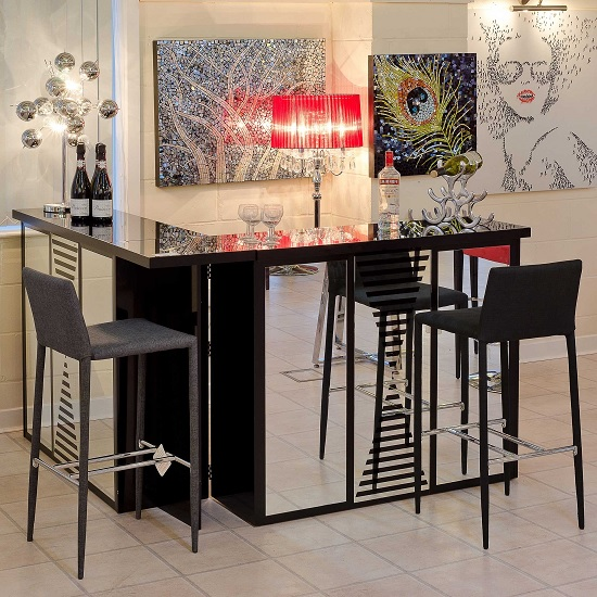 Black Home Bar Furniture: Acadia Mirrored Folding Bar Unit In Black High Gloss 31630