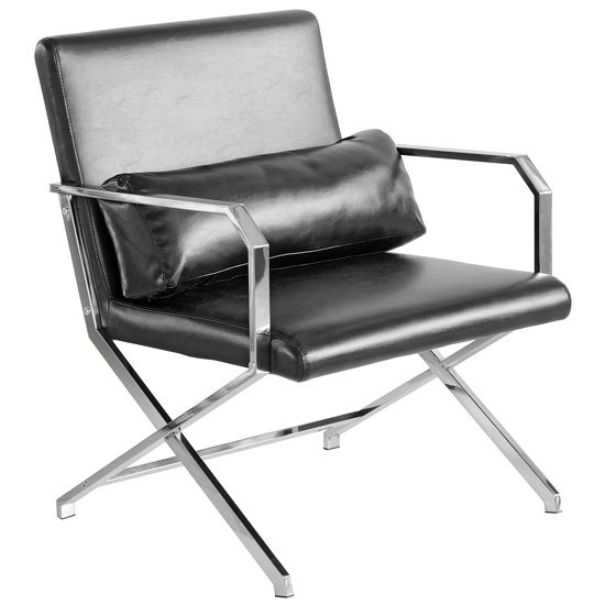 Acamar Faux Leather Leisure Lounge Chair In Black
