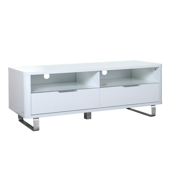 Accent Wooden TV Unit In White With 2 Doors
