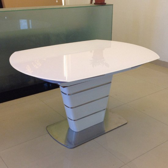 Achim Extending Dining Table In White Gloss Glass And Steel Base_2