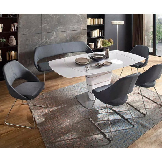 Achim Extending Dining Table In White Gloss Glass And Steel Base_3
