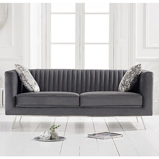 Achird Velvet 2 Seater Sofa In Grey