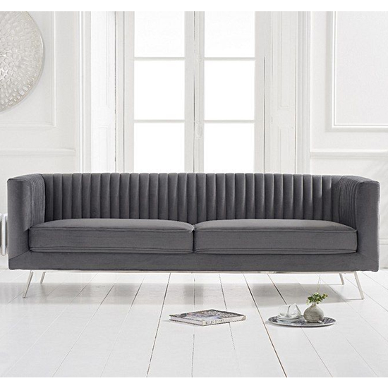 Achird Velvet 3 Seater Sofa In Grey_2