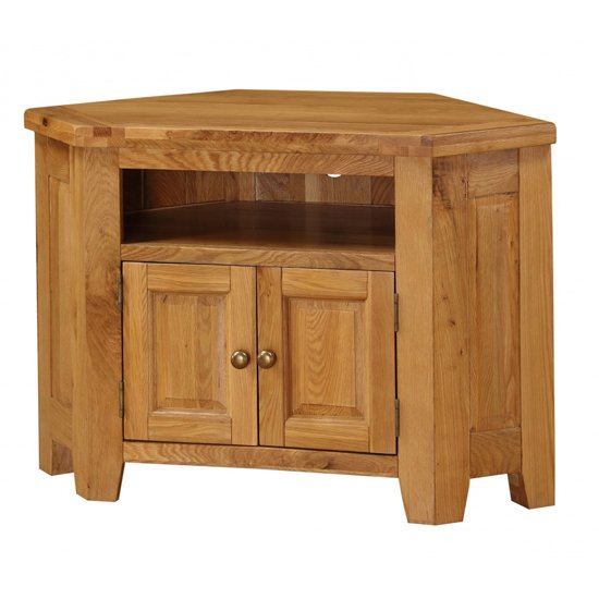 Product photograph showing Acorn Corner Wooden Tv Stand In Light Oak