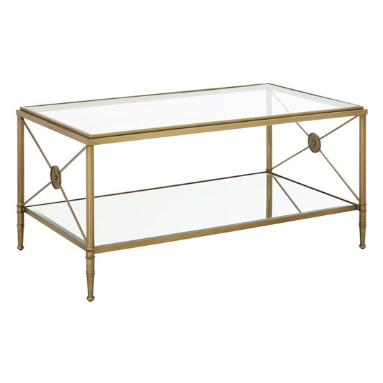 Acox Clear Mirrored Glass Coffee Table With Gold Legs