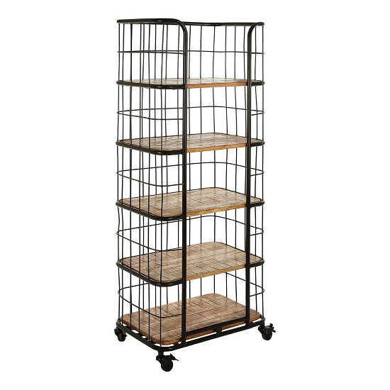 Acton Wooden Shelving Unit In Natural With Black Iron Legs