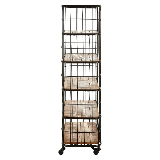 Acton Wooden Shelving Unit In Natural With Black Iron Legs_2
