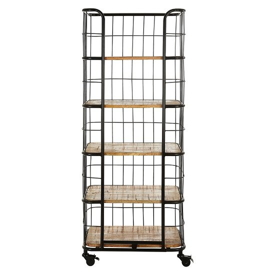 Acton Wooden Shelving Unit In Natural With Black Iron Legs_4