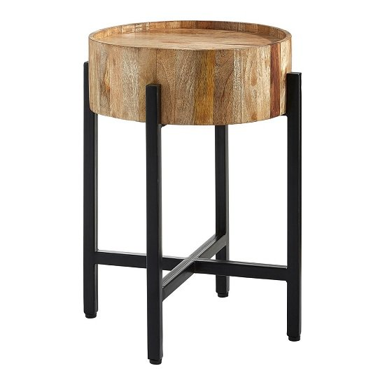 Acton Wooden Side Table Round In Natural With Black Iron Legs