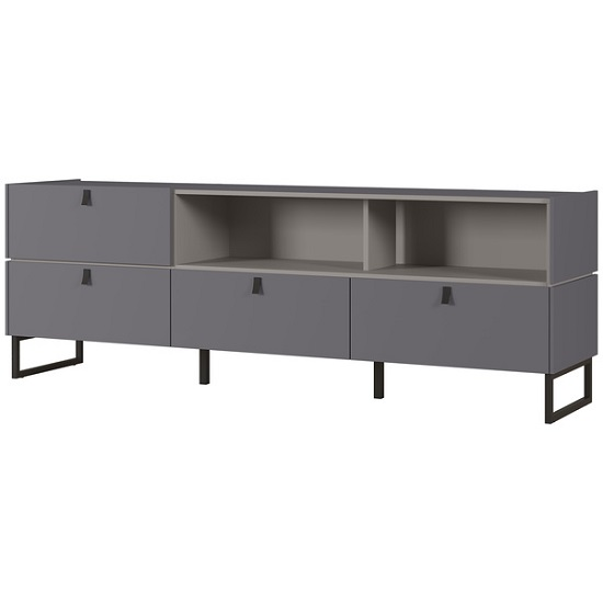 Adah Large Lowboard TV Stand In Graphite And Stone Grey_1