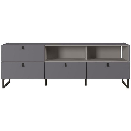 Adah Large Lowboard TV Stand In Graphite And Stone Grey_2