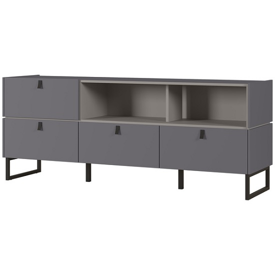 Adah Medium Lowboard TV Stand In Graphite And Stone Grey