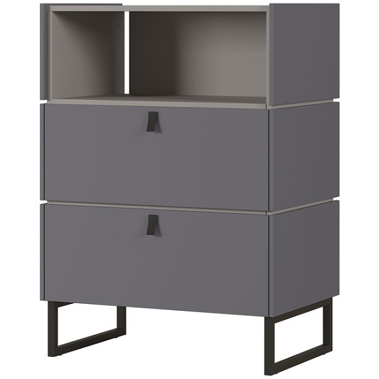 Adah Wooden Chest Of Drawers In Graphite And Stone Grey