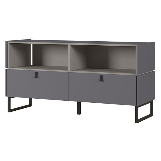 Adah Small Lowboard TV Stand In Graphite And Stone Grey
