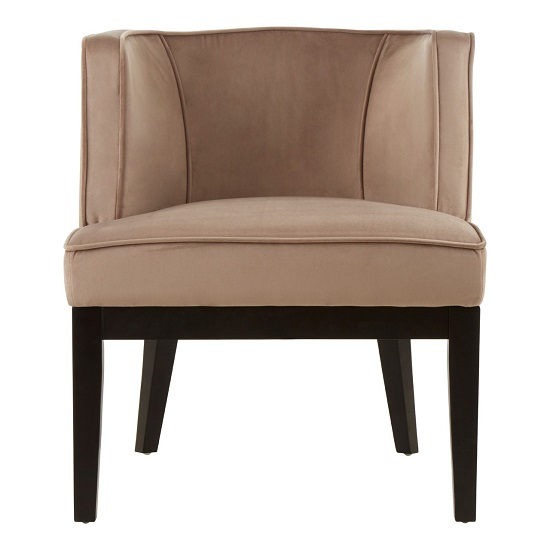 Adalinise Rounded Velvet Upholstered Bedroom Chair In Brown_1