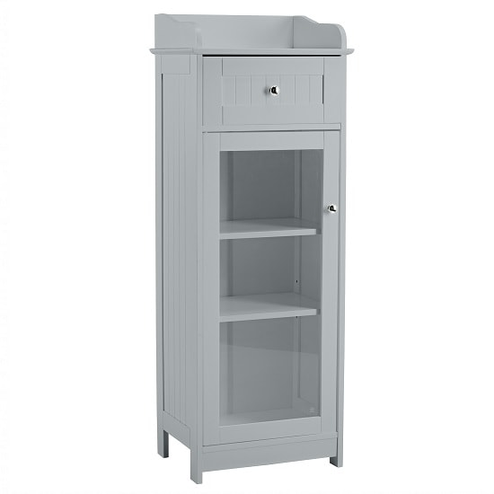 Adamo Bathroom Storage Cabinet In Grey With 1 Glass Door