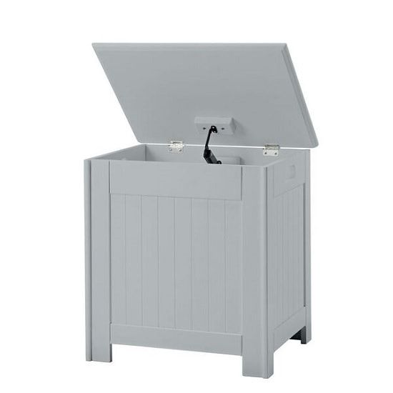 Adamo Wooden Bathroom Laundry Box In Grey_2