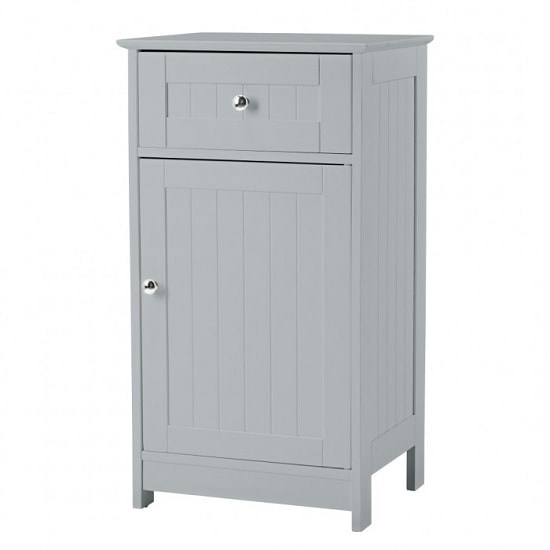 Adamo Bathroom Storage Cabinet In Grey With 1 Door And Drawer