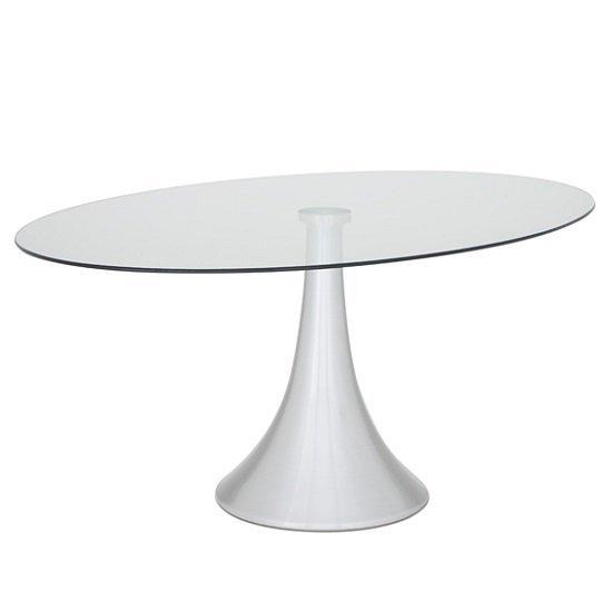 Adana glass dining table oval in clear with aluminium base for Oval glass dining table