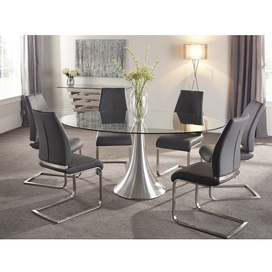 Adana Glass Dining Table Oval In Clear With 6 Dawlish : adanaglassdiningtableovaldawlish6greychairs from www.furnitureinfashion.net size 550 x 550 jpeg 110kB