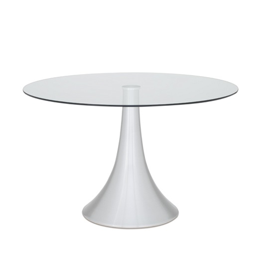 Adana Glass Dining Table Round In Clear With Aluminium Base
