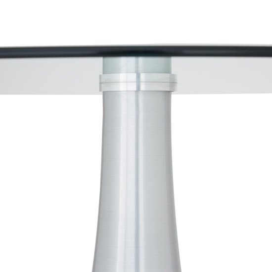 Adana Glass Dining Table Round In Clear With Aluminium Base_3