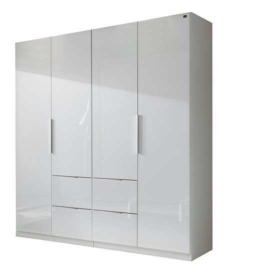 Read more about Add on d white gloss wardrobe with 4 doors 4 drawers