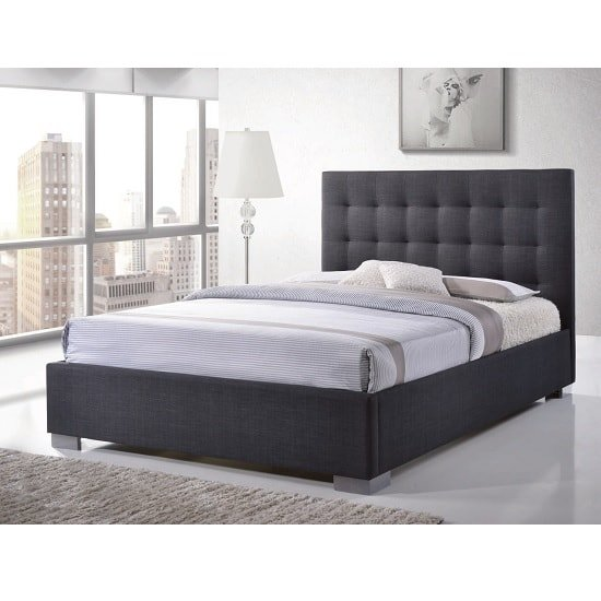 Addison Fabric Double Bed In Grey With Chrome Feet