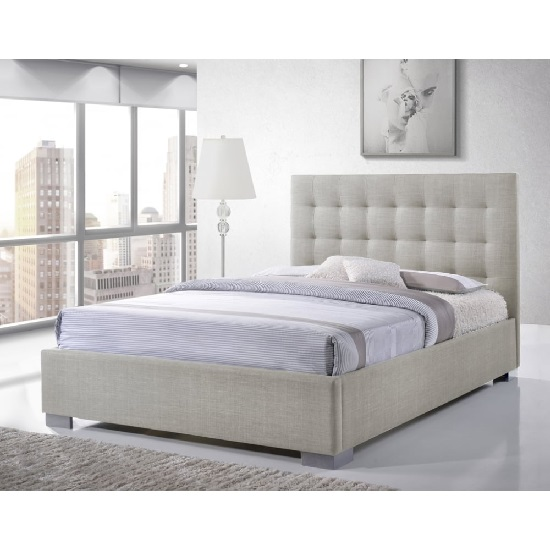 Addison Fabric Contemporary Bed In Sand With Chrome Feet