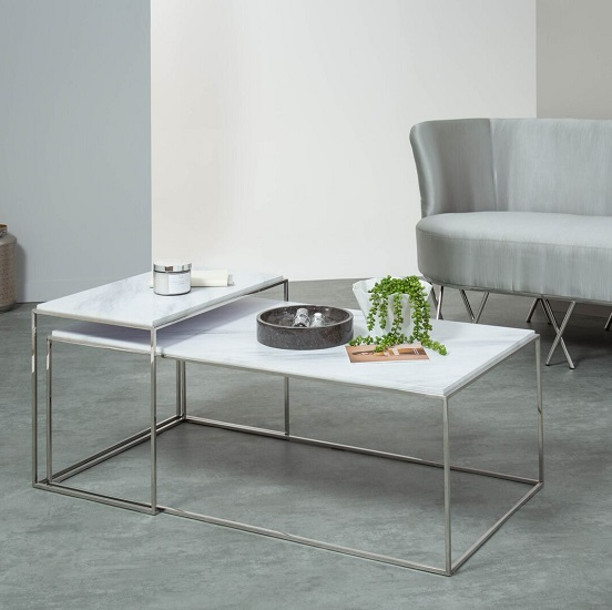 White Marble Coffee Table Set: Adelaide Marble Effect Coffee Table Set In White And Steel