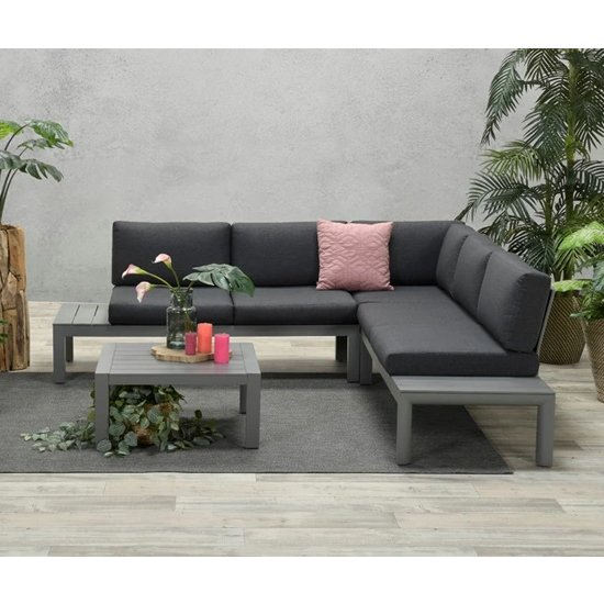 Adelane Corner Sofa Group With Coffee Table In Artic Grey