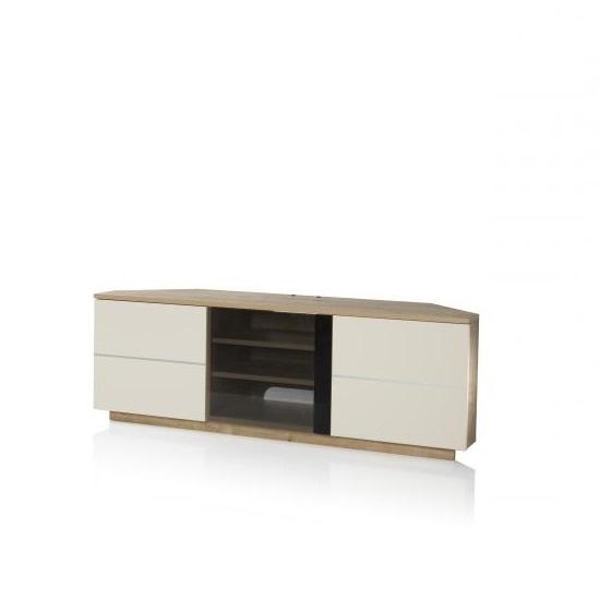 Image of Adele Corner TV Stand In Oak With Glass And Matt Cream Doors